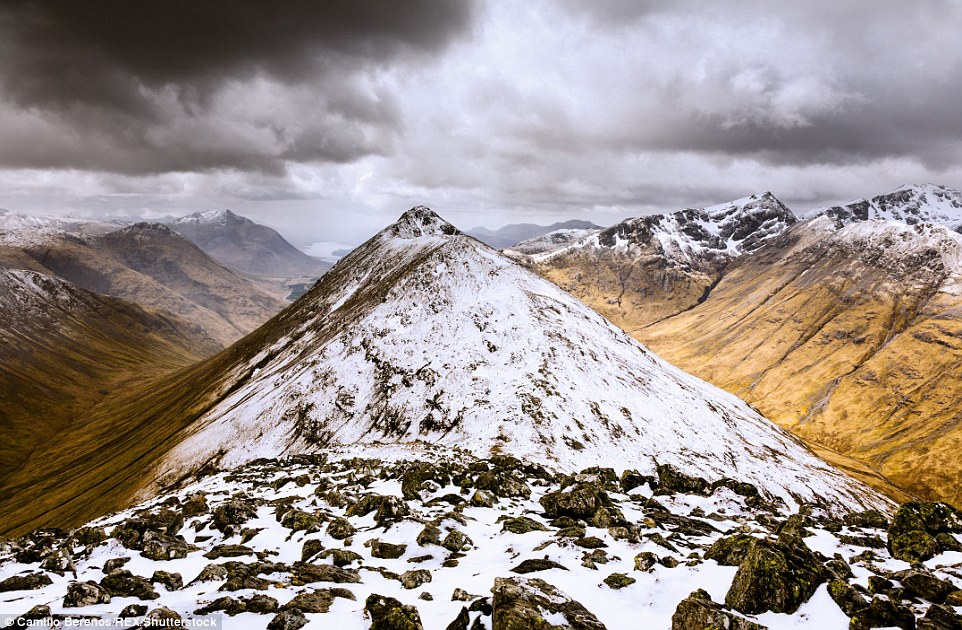 The pure power of nature feels more present atop the snow encrusted peaks of Buachaille Etive Beag (above) as the storm clouds gather