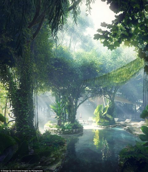 The man-made rainforest - in the middle of a desert city - will have a pool and an artificial beach for guests