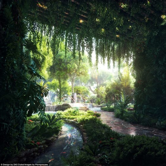 The rainforest will be located inside a five-storey podium at the base of two 47-storey towers, and filled with exotic plants
