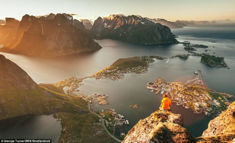 The view from the top of Reinebringen, Norway