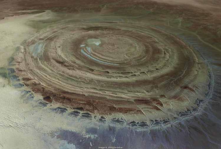 African Sahara desert known as the Richat Structure - a deeply eroded geologic dome - is actually so distinctive from Space, it has become a landmark for Nasa astronauts