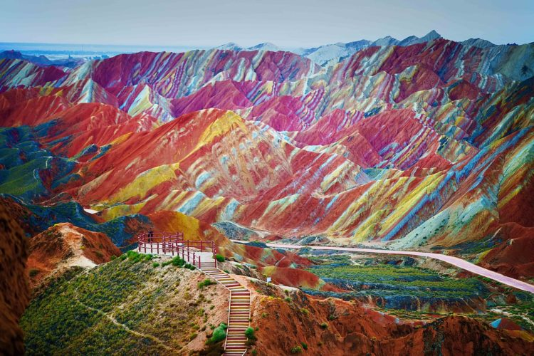 Brightly-coloured landforms at China's Zhanhye National Geopark, located in the Gansu Province are the result of mineral deposits over a staggering 24million years