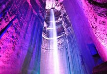 Ruby Waterfall is located within Lookout Mountain in Tennessee, 1120 feet below ground lies tallest and deepest waterfall of United States.