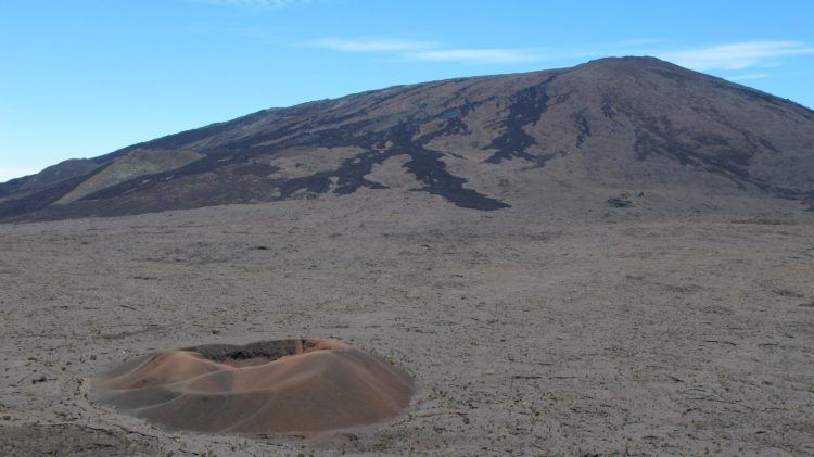 The Formica Leo, a relatively small volcanic crater on the French Indian Ocean island of Réunion surrounded by empty land