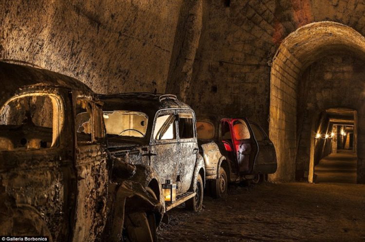 Visitors crawling through the tunnels nowadays will be sure to encounter the dusty relics of vintage cars and retro motorcycles abandoned underground