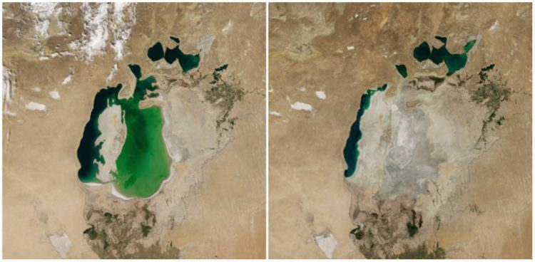 Aral Sea, Central Asia. August, 2000 — August, 2014.