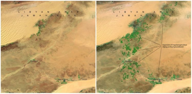 Great Man-Made River, Libya, April, 1987 and April, 2010. The greatest engineering project in the world a network of pipes, aqueducts and wells more than 500 metres deep.