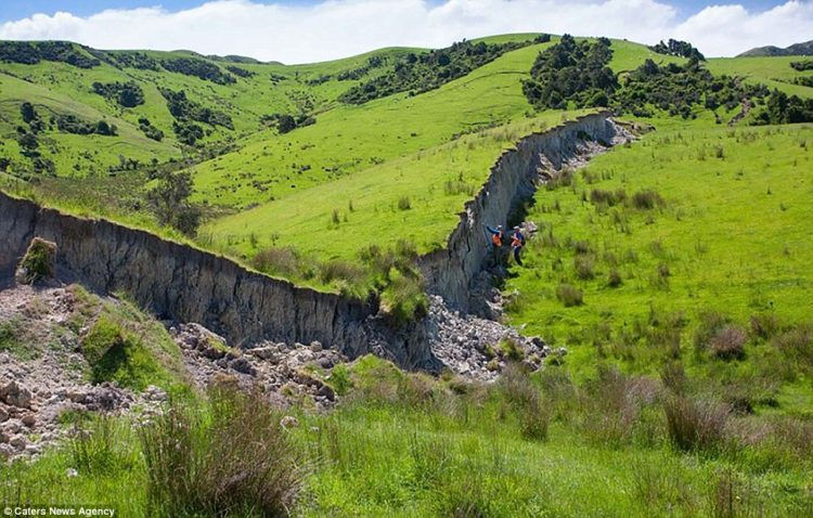 Huge Hadrians Wall-like fault erupting from New Zealand countryside after the 7.8 magnitude earthquake that rocked New Zealand earlier this month