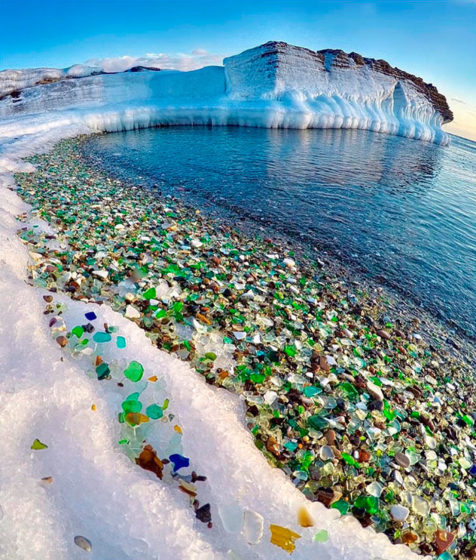 On a Sunny day sparkle like lighted candles, the Glass Beach of Ussuri Bay is not the only perfect example of nature correcting man's mistake.