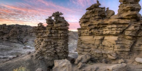 Fantasy Canyon was located along the east shore of the lake, which is started to fill with sediments from the surrounding area and the once loose sands, silts, and clays were forged into sandstone and shale.