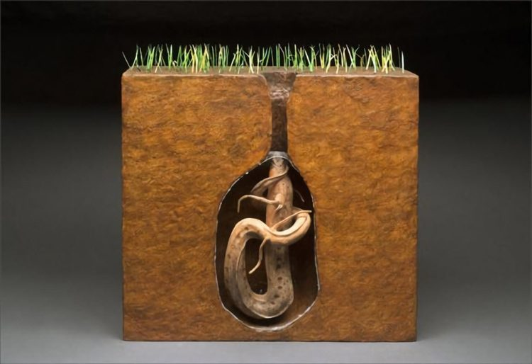 A computer-generated model of a lungfish in its burrow.