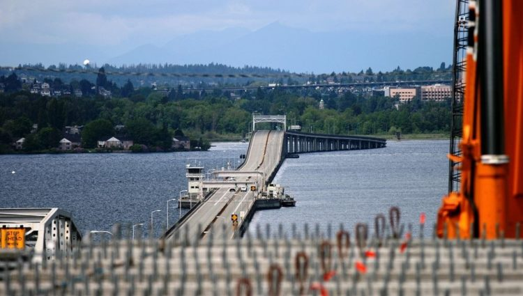 A photograph taken on June, 2012, shows the newly set girders with the SR 520 floating bridge