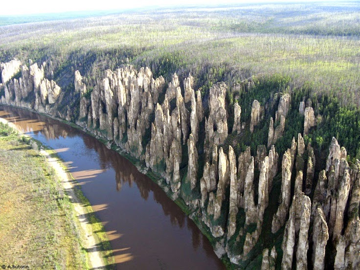 Lena's Stone Forest, is also called Lena's Pillars, actually a natural rock formation about 60 km upriver from Yakutsk, in Russia