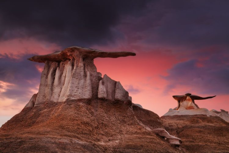 In this beautiful landscape here wind and water erosion over a long time have carved a imaginary world of bizarre rock formations and hoodoos