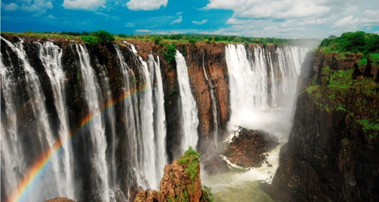 The whole volume of the Zambezi River pours through the as much as six Gorge's zigzagging series of gorges designated by the order in which the river reaches them.