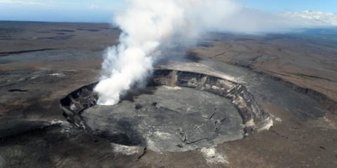 Aerial photo of Halemaumau crater in 2009