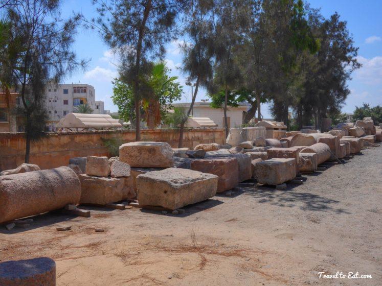 Assorted Ancient Rubble. Catacombs of Kom el Shoqafa. Alexandria, Egypt