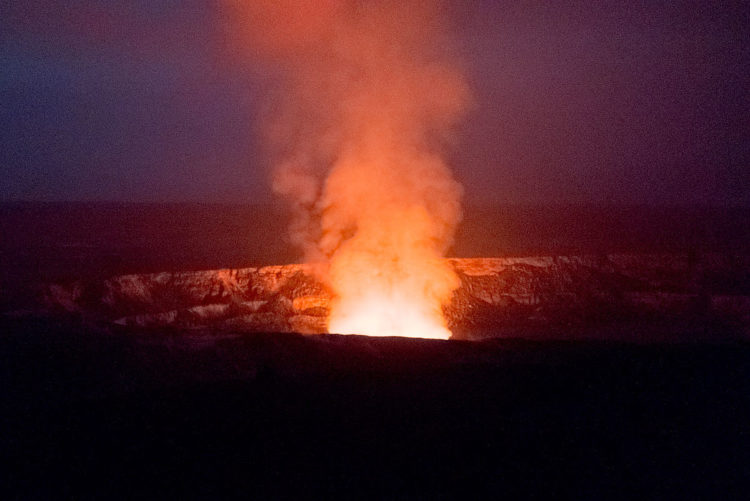 In March 2013, the glow from the lava lake at the bottom was clearly visible after dark