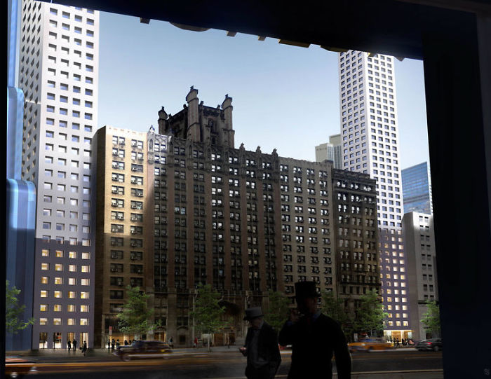 It was designed to circumvent strict New York zoning laws, which limit the height of buildings in the city