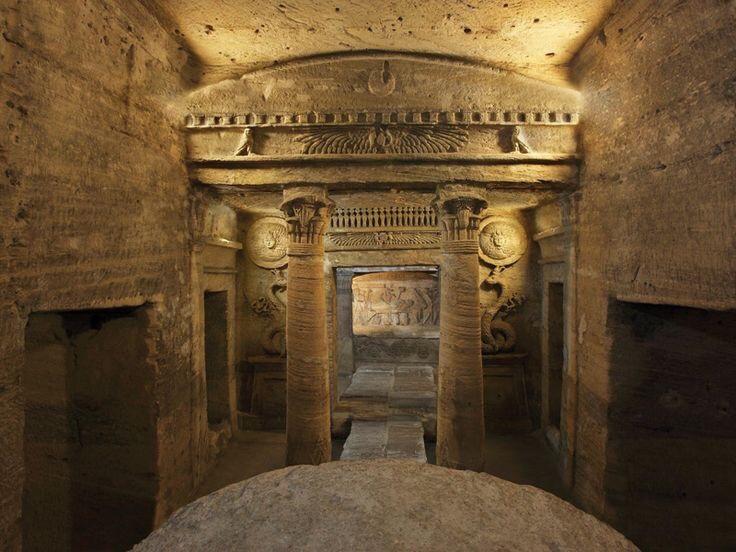 Lobby or Triclinium of Catacombs of Kom el Shoqafa. Alexandria, Egypt