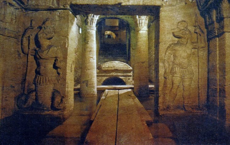 The Graveyard; Anubis, jackal-headed god, protects the door of the sanctuary.