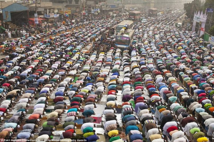 Thousands of Muslims in Tongi, near Dhaka in Bangladesh, take Friday prayers in congregation grounds as part of Biswa Istema, the second largest religious gathering of Muslims in the world