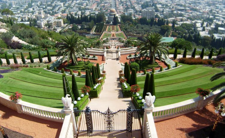 The Terraces of the Bahá'í Faith, are garden terraces around the Shrine of the Báb on Mount Carmel in Haifa, Israel.