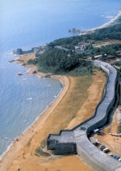 Therefore, one of the more fascinating places to visit The Great Wall is where it meets the Bohai Sea near Shanghaiguan in Qinhuangdao City about 300 kilometers east of Beijing.