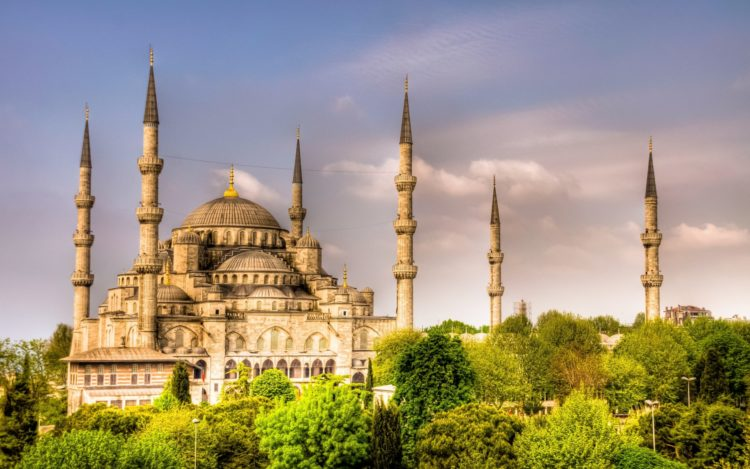 The mosque was built on the site of the palace of the Byzantine emperors, in front of the basilica Hagia Sophia and the hippodrome, a site of noteworthy symbolic meaning as it dominated the city skyline from the south.