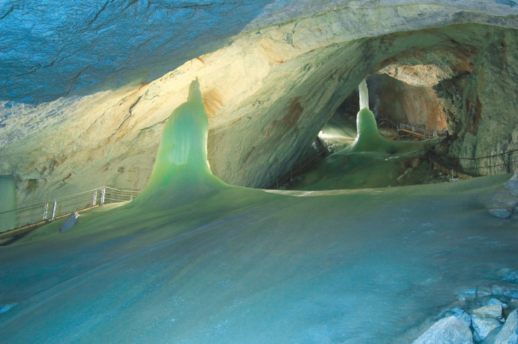 Eisriesenwelt Cave is flowed through the mountain eroding passageways nearly 100 million years ago, cracks and crevices in the limestone became more developed as water eroded the rocks away.