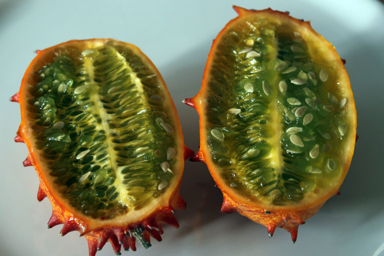 The horned melon has orange skin/lime green with a refreshingly fruity taste, and textures same to passionfruit or pomegranate or combination of banana cucumber and lime