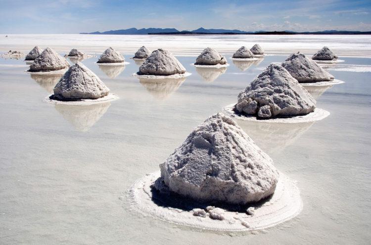 Piles of salt at the Salar