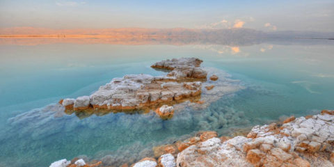 The Dead Sea represents two reservoirs, the north one which is wider and less salty, and the south one a small, near the shores of which people extract potash, bromine and numerous salts for chemical companies that produce the world famed cosmetics.