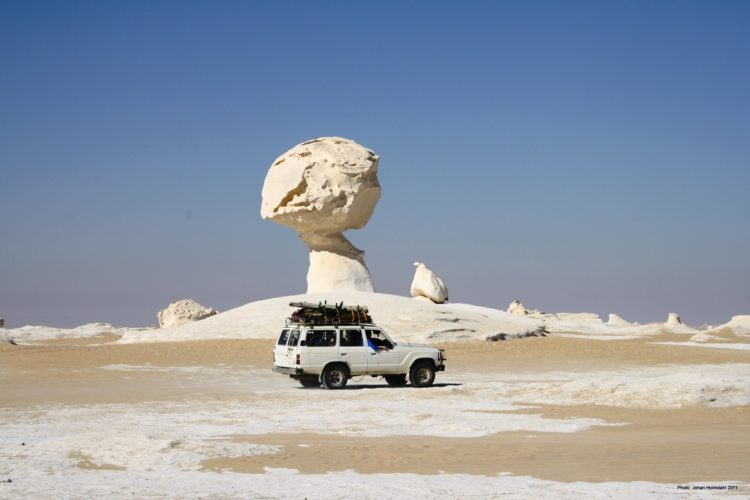 """The magnificent snow-white desert is actually made of chalk that has been exposed for years to what geologists call """"differential weathering,"""