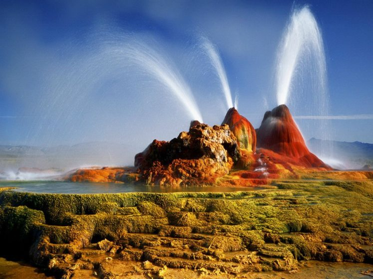 The source of the Fly Geyser field's heat is attributed to a very deep pool of hot rock where tectonic rifting and faulting are common. It was unintentionally created by well drilling in 1964 for the study of sources of geothermal energy.