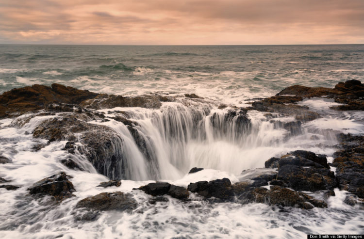 About 20 Feet deep Thor's Well is actually a hole in the rock that only appears to drain water from the ocean.