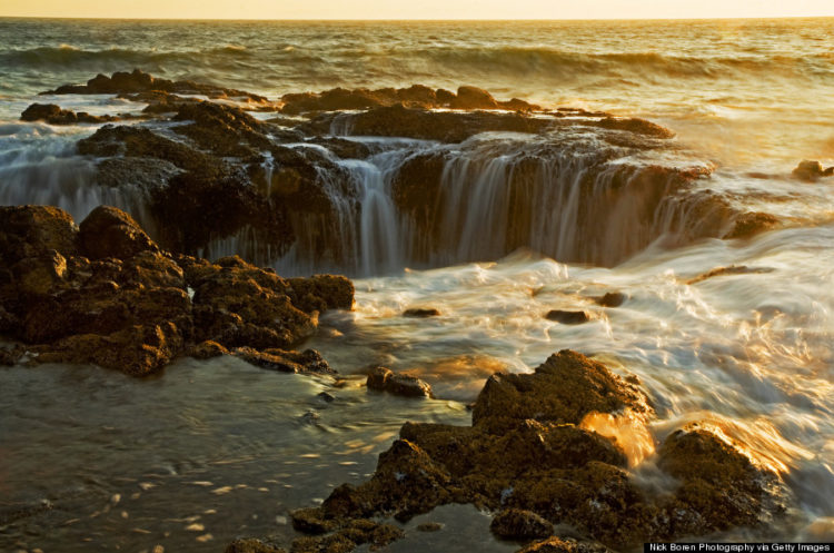 The salt water natural fountain is off the coast of Cape Perpetua in Oregon and has become a popular spot for photo ops.