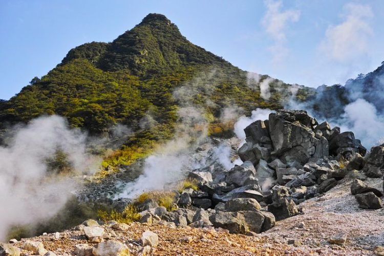 """Owakudani or """"the Great Boiling Valley"""" in Hakone, Japan, is barely the perfect tourist spot."""