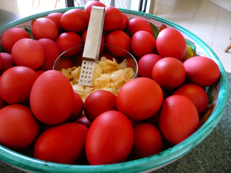 In the Chinese culture, it is common to hold at the baby´s first-month birthday a red egg and ginger party.