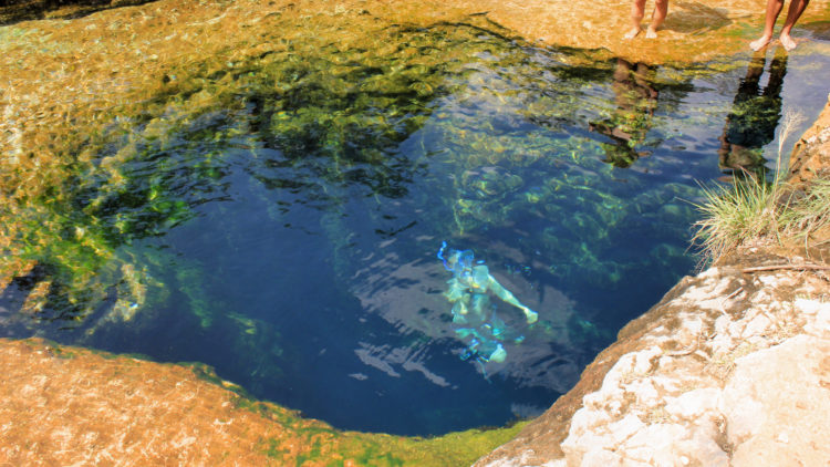 "Jacob's Well is located on the ""Cypress Creek"" in the town of Wimberley, Texas, USA."