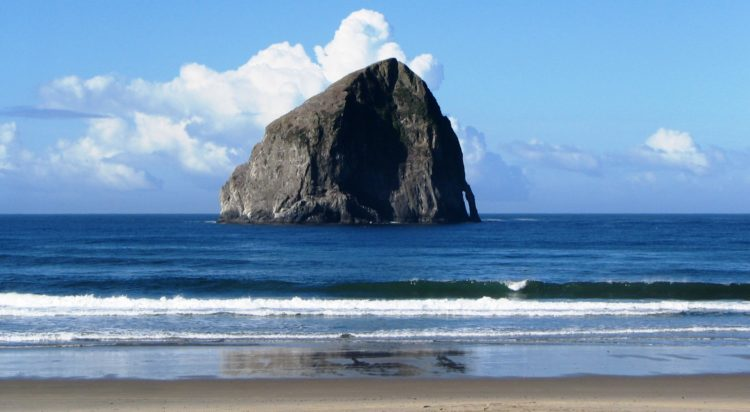 The tallest and probably best known Haystack Rock stands 327 feet above the sea and is the fourth tallest sea stack or off-shore monolith in the world.