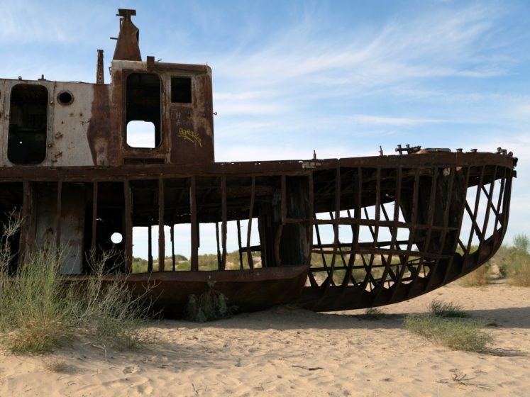 Aral Sea has been steadily shrinking since in 1960s after the rivers that fed it were diverted by Soviet irrigation projects.