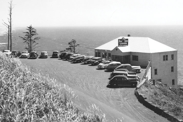 This photo was taken in the late 1940s and the Sea Lion Caves still remains a popular roadside Oregon Coast attraction today.