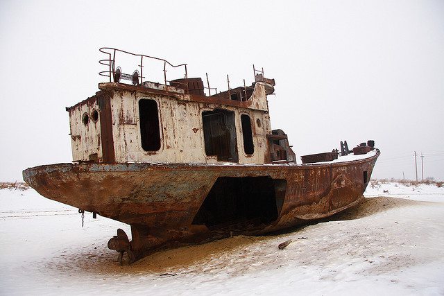 The Aral Sea has been gradually declining since the 1960s, as the waters of the two rivers feeding it, the Amu Darya and Syr Darya, were aimed at irrigating agricultural areas.