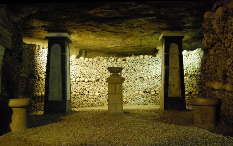 The Catacombs of Paris are underground ossuaries in Paris, France, which hold the remains of more than six million people in a small part of the ancient Mines of Paris tunnel network.