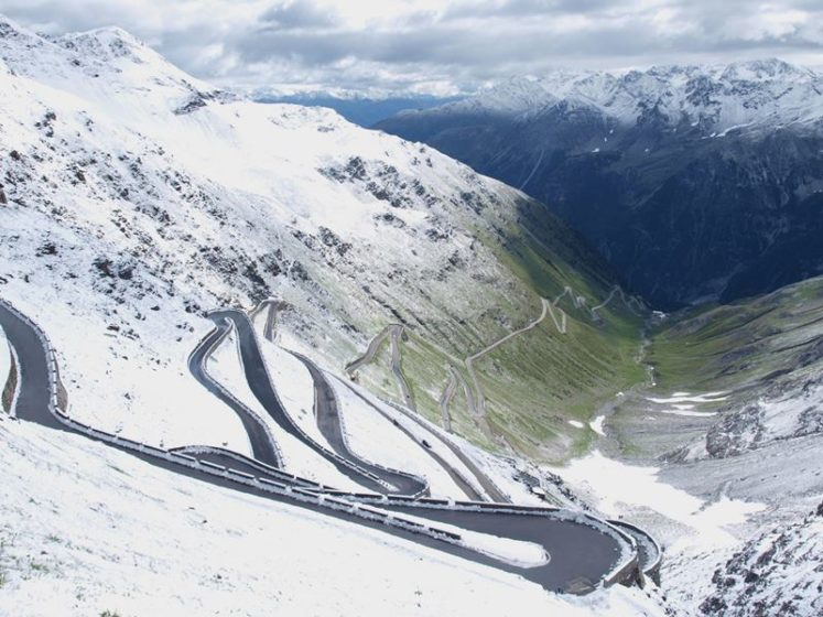 The Stelvio Pass is located in the Ortler Alps in Italy between Stilfs in South Tyrol and Bormio in the province of Sondrio, about 75 km from Bolzano and near 200 meters from the Swiss border.