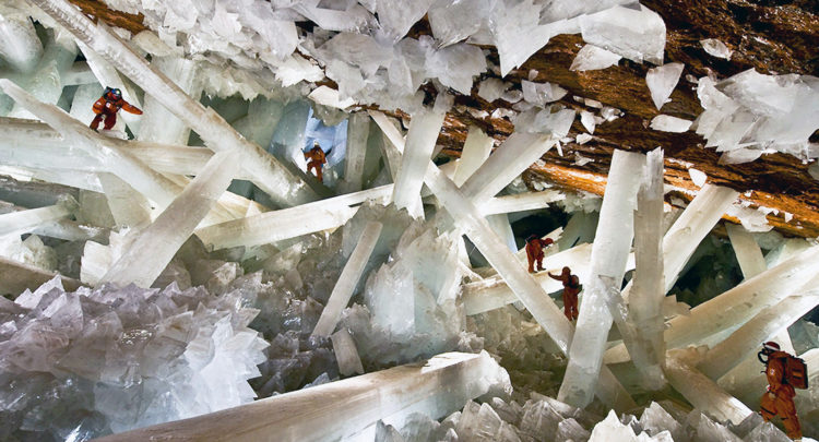 The Cave of Crystals is a horseshoe-shaped cavity in limestone, covered with perfectly faceted crystalline blocks.The Cave of Crystals is a horseshoe-shaped cavity in limestone, covered with perfectly faceted crystalline blocks.