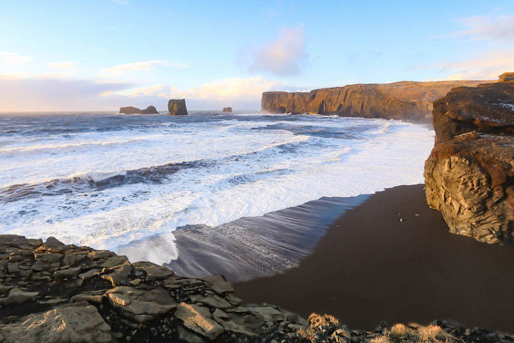 One of the rarest beaches on the planet is located near the village of Vík í Mýrdal, in Iceland, which faces the open Atlantic Ocean and is situated in 180 kilometers from Reykjavik.