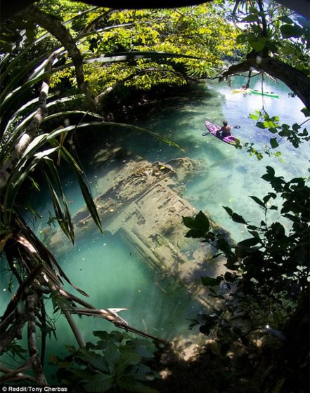 Holiday tourists visiting the Micronesian archipelago of Palau discovered an unusually rare sight, recently - after stumbling across a doomed WW2 plane.