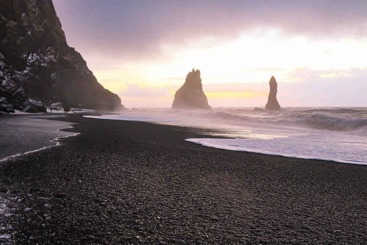 Southern Iceland is framed by a black sand beach that was ranked in 1991 as one of the ten most beautiful non-tropical beaches in the world.